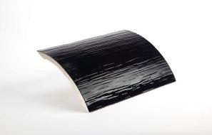 Kachel schwarz glänzend glasiert (Seitenteil)