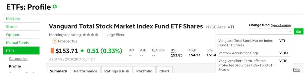 Vanguard index funds on TD Ameritrade