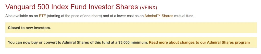 VFINX is closed to new investors