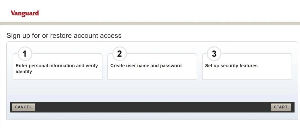 Vanguard Set Up Username and Password