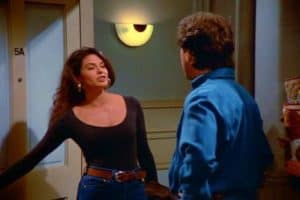 Teri Hatcher's career was made in a 'Seinfeld' episode -- The Implant -- written by Peter Mehlman