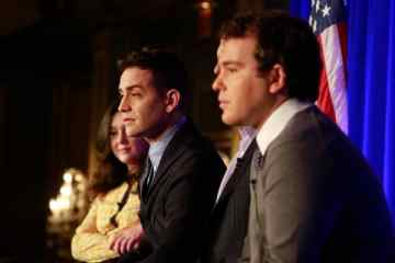 """1600 Penn"": (l-r) Amara Miller, Jason Winer, Executive Producer; Jon Lovett, Executive Producer -- (Photo: Ben Cohen/NBC)"