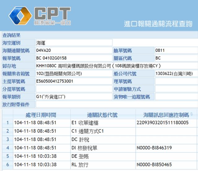 手機版-20151118-進口報單查詢