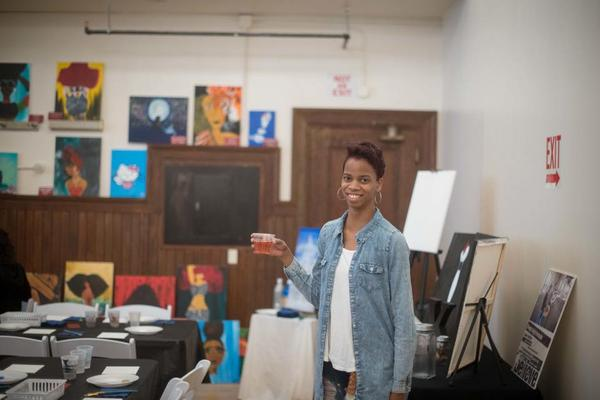 kay of ladies paint night in her studio