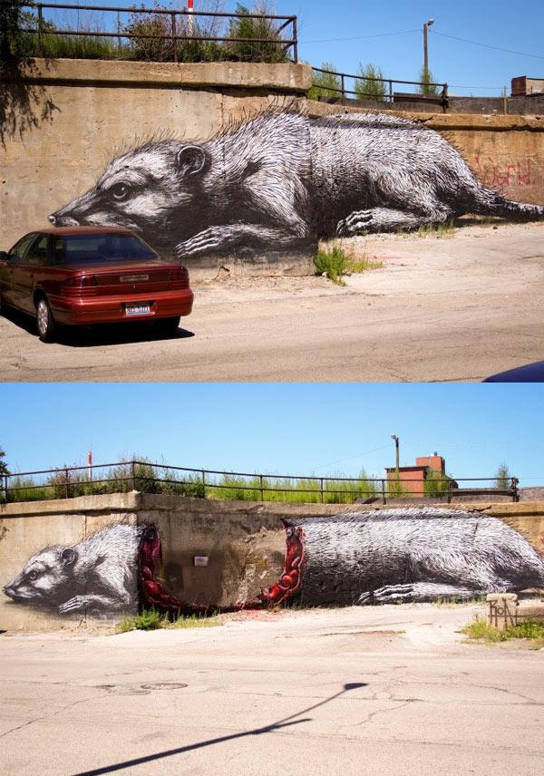 ROA, imaginative street art, graffiti art, street artists, urban murals, urban art, mr pilgrim art.