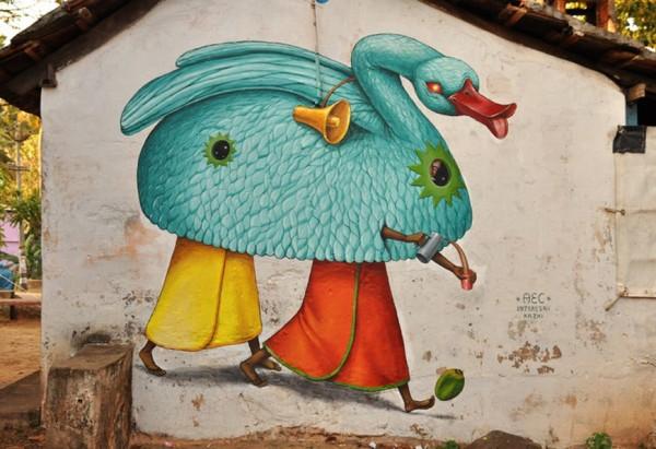 Interesni Kazki, India, Beyond banksy project, imaginative street art, graffiti art, street artists, urban murals, urban art, mr pilgrim art.