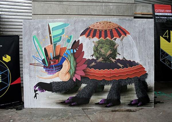 Curiot, imaginative street art, graffiti art, street artists, urban murals, urban art, mr pilgrim art.