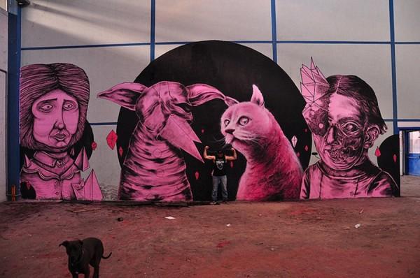 Seacreative, Centina, Kraser, James Kalinda, imaginative street art, graffiti art, street artists, urban murals, urban art, mr pilgrim art.