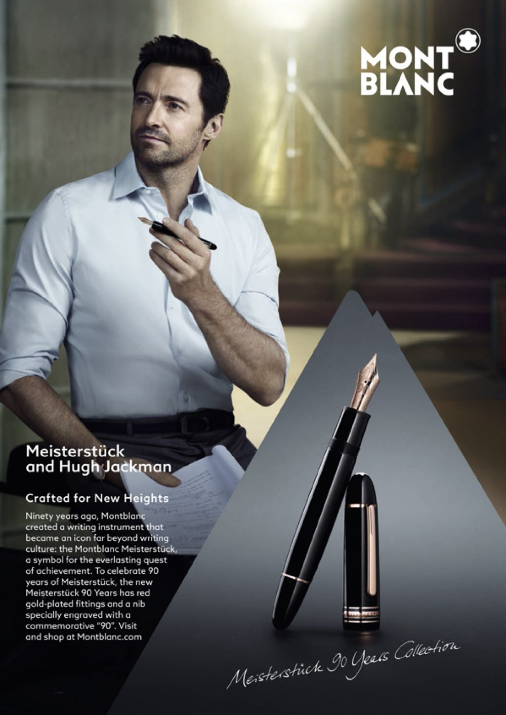 Hugh Jackman on the ad for Montblanc