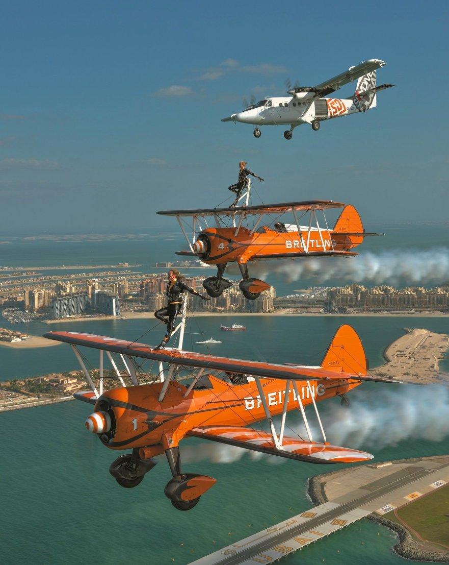 Skydive Dubai and Breitling take to the skies over Dubai .