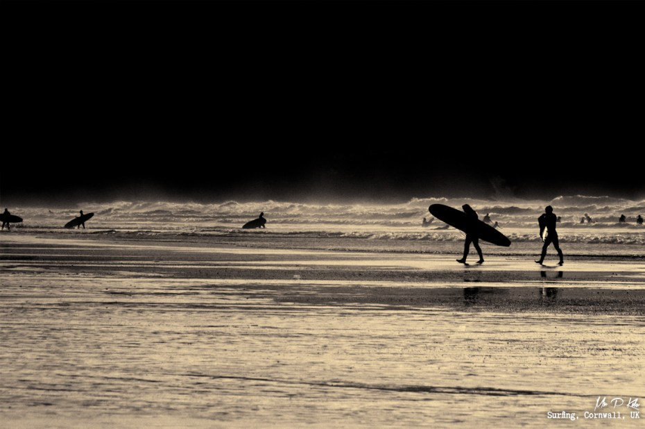 Surfing Silhouettes on Polzeath Beach Cornwall by MrPKalu