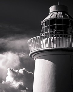 Black and white image of Farne Island lighthouse by mrpkalu