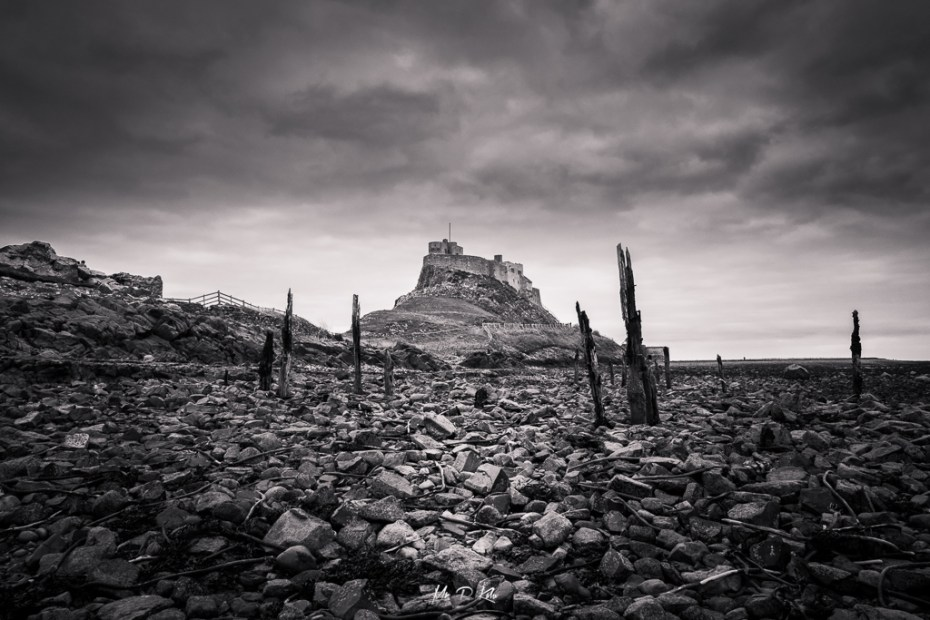 Black and white image of Lindisfarne Island