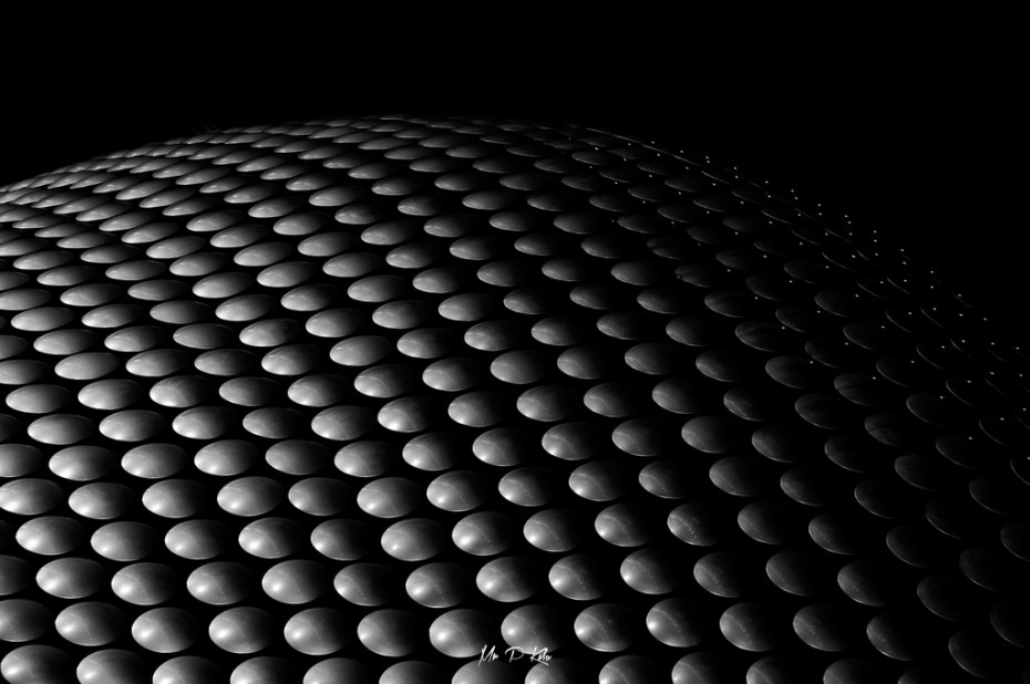 Black and white image of the Selfridges Building in Birmingham