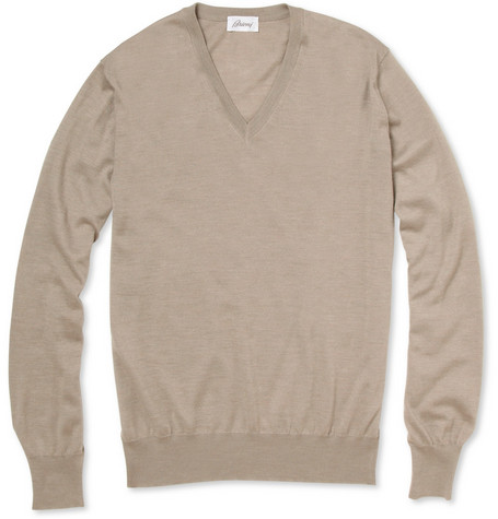 Brioni Cashmere and Silk-Blend V-Neck Sweater