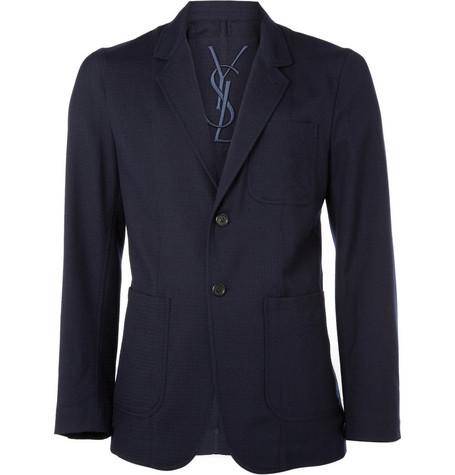 Yves Saint Laurent Unstructured Textured-Wool Blazer
