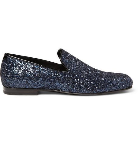 Jimmy Choo Sloane Glitter-Appliquéd Evening Slippers