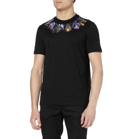 Givenchy Rottweiler and Flower-Print Cotton T-Shirt