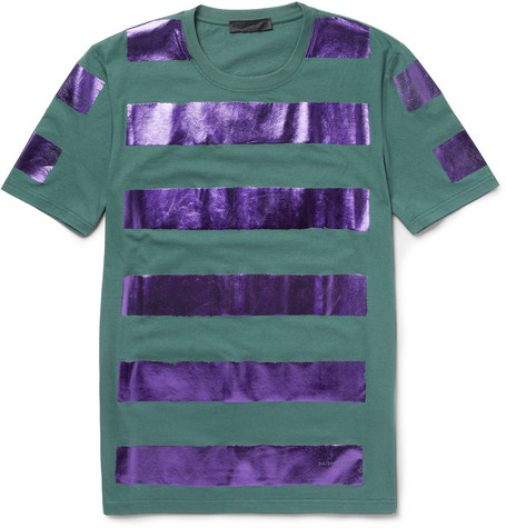 Burberry ProrsumMetallic-Stripe Cotton-Jersey T-Shirt