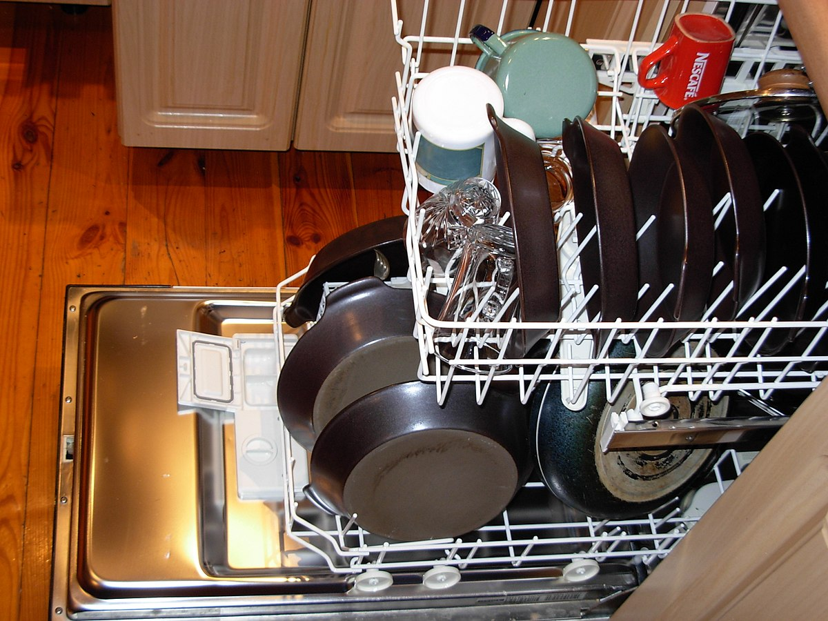 put dishes in dishwasher to clean the kitchen fast