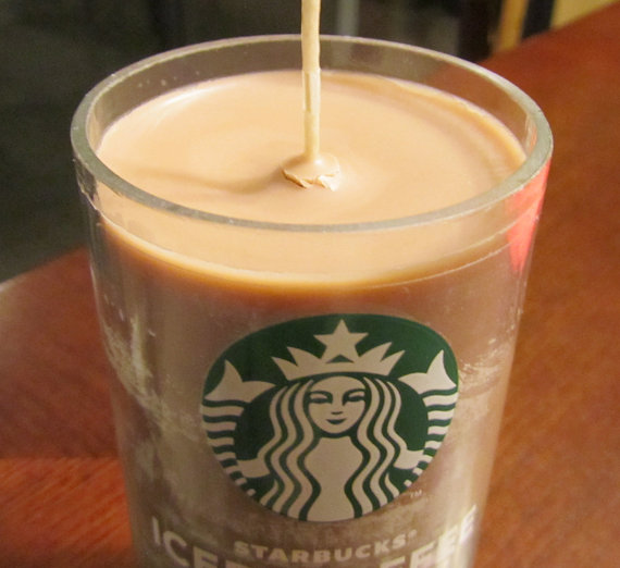Mocha scented candles in recycled Starbucks iced coffee bottles | Coffee Lovers Gift Guide