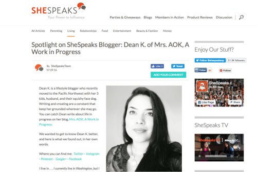 Mrs. AOK, A Work In Progress featured on She Speaks