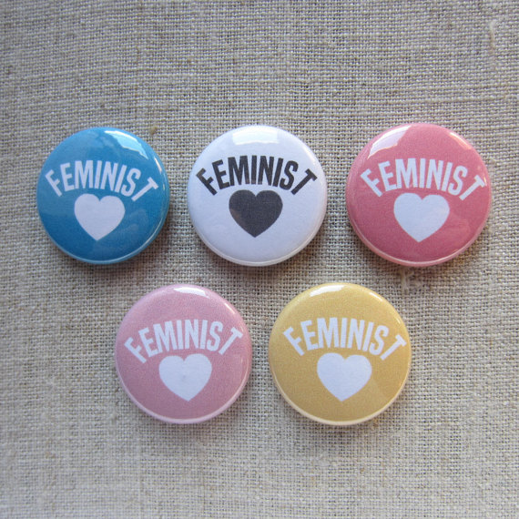 Feminist 5 pack button set via Hearts and Cats
