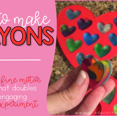 How to make crayons out of old, used, broken crayons and a silicone tray. Great fine motor skill practice and an engaging science experiment. Blog post how to make crayons at Mrs. D's Corner.