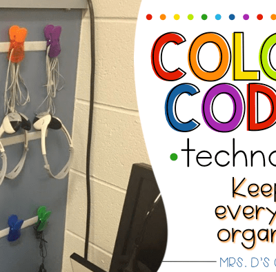 Color coded classroom. Color coding technology and keeping everything organized.