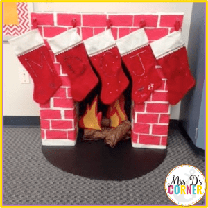DIY classroom fireplace is great for holiday parties and holiday spirit in your classroom.