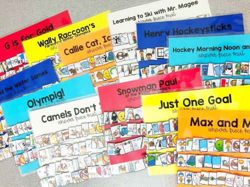 Adapted Piece Book Sets for the special education classroom. Adapted books for winter sports games and olympics. 20 winter sports books for kids. Winter Sports books for kids. Winter Games books for kids. Olympic books for kids. Mrs. D's Corner.