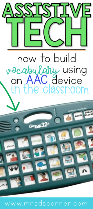 Core Vocabulary is an essential part of every person's life, and for our nonverbal students they access core vocabulary and language through assistive technology and AAC devices. Learn about the simple lesson I use with my students to practice the use of AT devices, while practicing the basic skills all students need (including fine motor). Includes a free printable for implementation tomorrow. Blog post at Mrs. D's Corner.