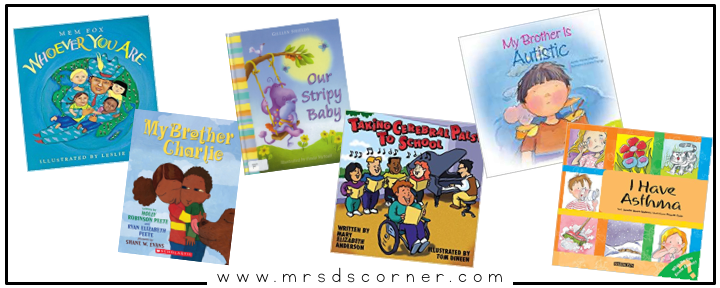 Books about disabilities for kids. disability awareness children's books. 60 books about being different for kids. Blog post at Mrs. D's Corner.