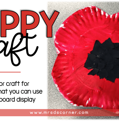 poppy craft - a fine motor craft for Memorial Day that you can use as a bulletin board display