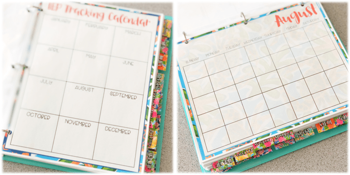 IEP caseload management binder includes calendars to keep track of all the important IEP dates.