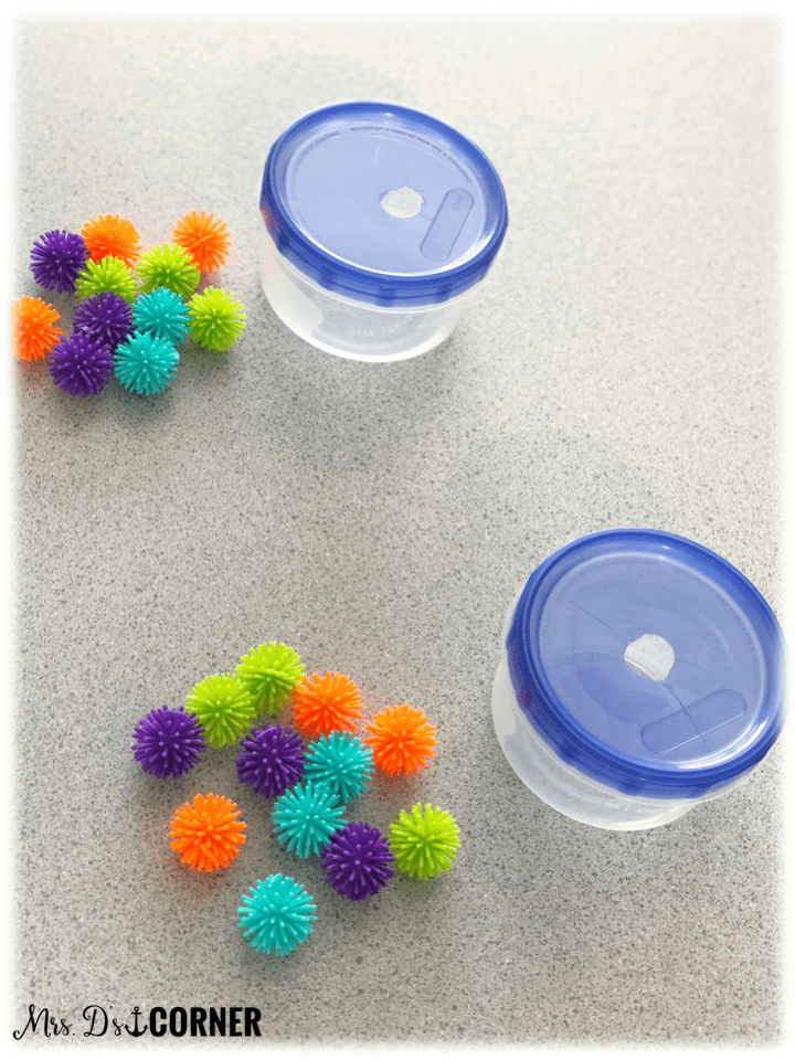 To start the activity, each student can have one container and a few spike balls.