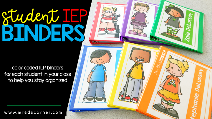 color coded student iep binders header