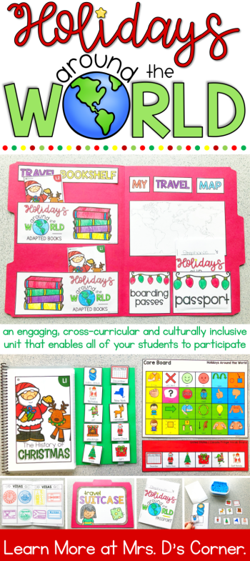 Holidays Around the World for Special Ed. A unit to take your students on a trip around the world. Travel to 12 different countries and celebrate a different holiday tradition at each stop with this set of leveled, adapted readers. These Christmas around the world activities include Nonfiction readers for each country in two levels with comprehension questions, core board and fringe vocab boards, passport and visa, and file folder suitcase. Cultural holiday lesson plans. Click to learn more.