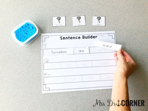 Sentence Builder - Level 1 - Paste the sentence strip pieces onto the worksheet. Use the picture cards as a guide. Mrs. D's Corner.