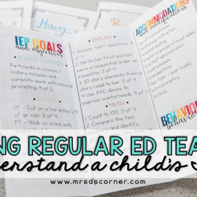 helping regular ed teachers understand a child's IEP - IEP snapshot brochure blog header
