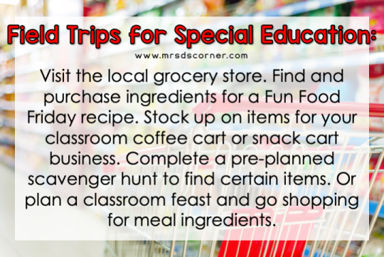Visit the local grocery store. Find and purchase ingredients for a Fun Food Friday recipe. Stock up on items for your classroom coffee cart or snack cart business. Complete a pre-planned scavenger hunt to find certain items. Or plan a classroom feast and go shopping for meal ingredients.