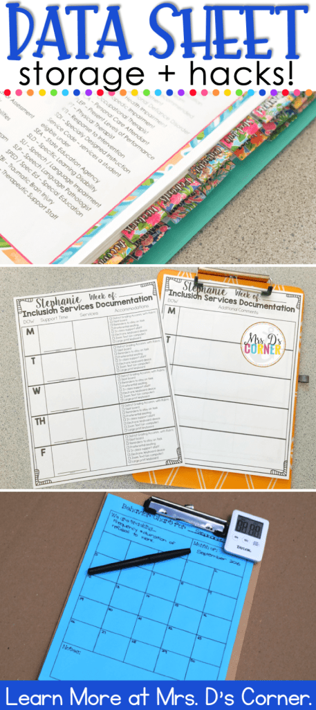 data sheets for special education pin image