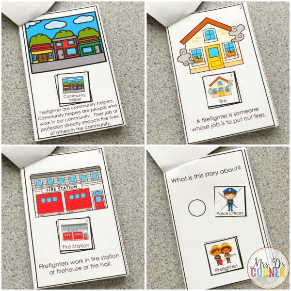 Fire prevention week adapted book printed in mini form to make a cut and paste activity.