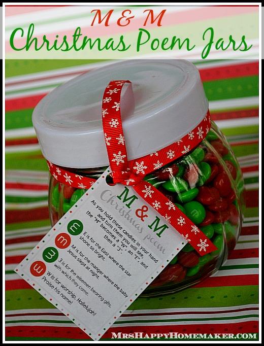 M Amp M Christmas Poem Candy Jars Mrs Happy Homemaker