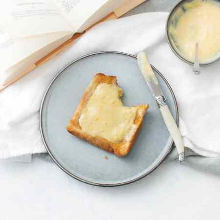 homemade mandarin curd on toast for breakfast