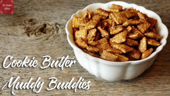 cookie butter, biscoff spread, muddy buddies, puppy chow, homemade puppy chow,