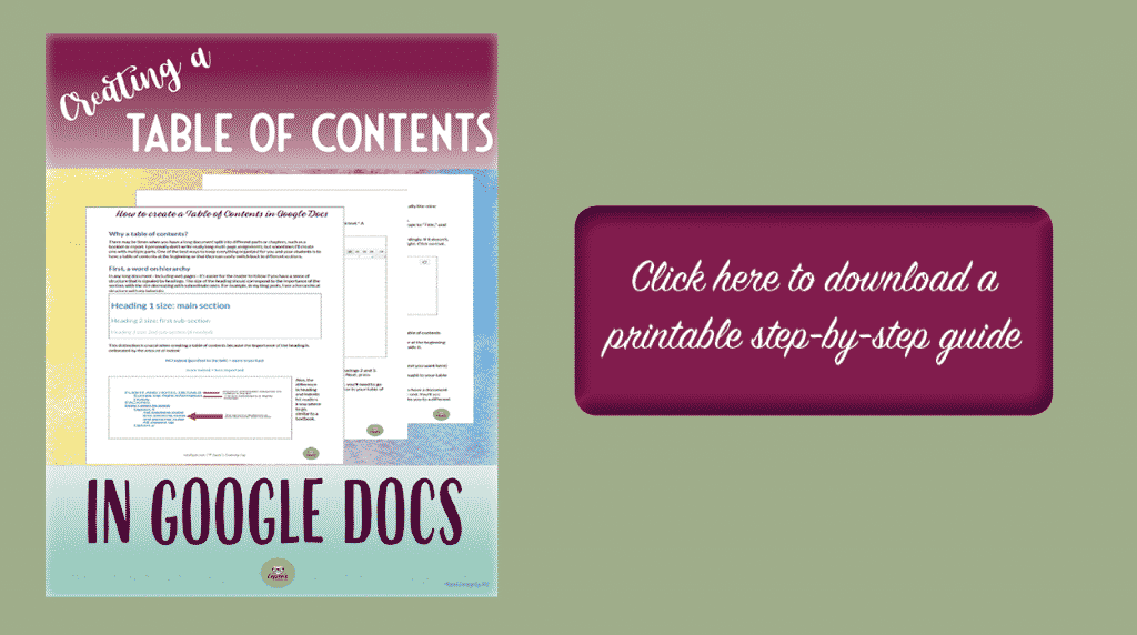 Get printable guide to create a table to contents in Google Docs | educational technology | google docs | first year teaching | beginning teacher | classroom technology
