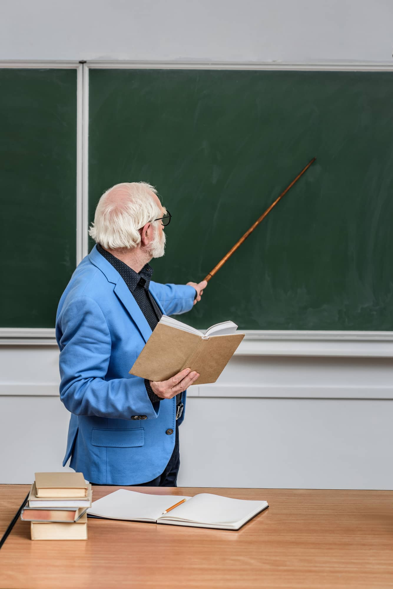 Elderly teacher lecturing with a pointer stick