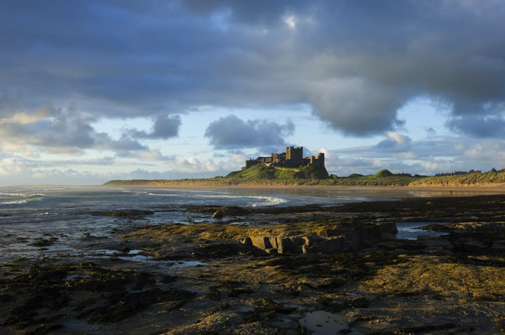 Black White Modern Wallpaper Photograph Of Bamburgh Castle Northumberland England