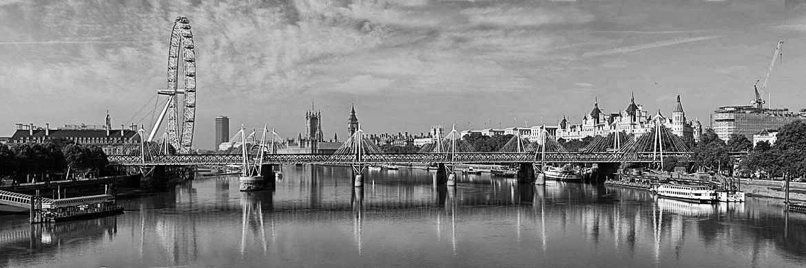 Photograph Of Westminster From Waterloo Bridge 1 Black